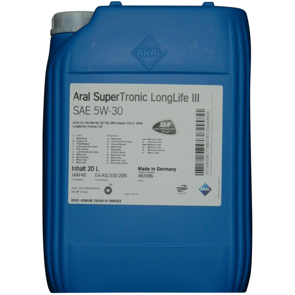 aral supertronic longlife 3 iii 5w 30 20 liter motor l. Black Bedroom Furniture Sets. Home Design Ideas